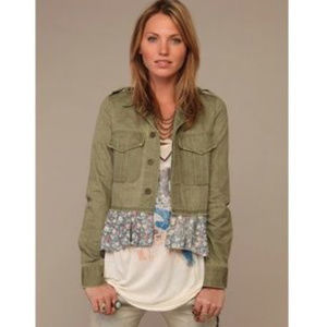 Free People green boho jacket with floral trim